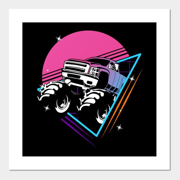 Retro Monster Trucks Gift Vintage Big Trucks Monster Trucks Posters And Art Prints Teepublic Au