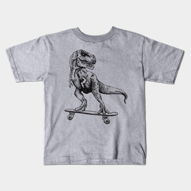 0a29f86fc T-Rex Dinosaur Skateboarding - Skateboarding - Kids T-Shirt | TeePublic