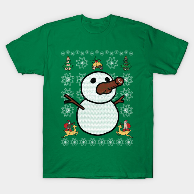 Christmas Penis Snowman Sweater (not ugly) (black) T-Shirt