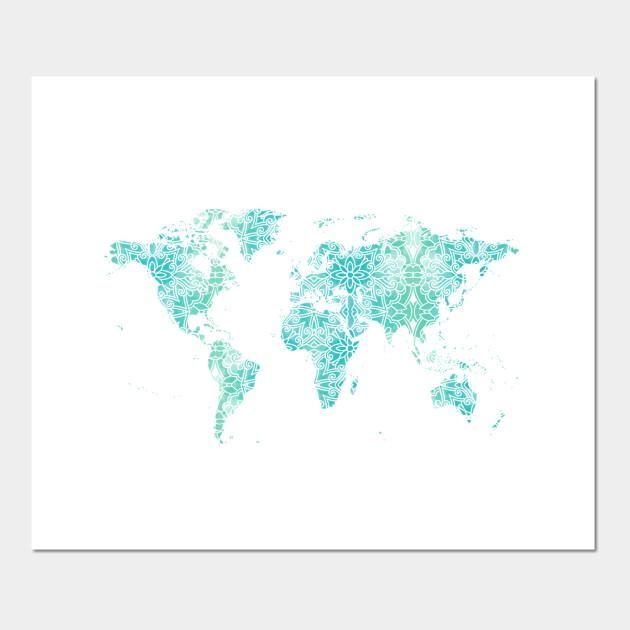 World Map Mandala World Map Posters And Art Prints Teepublic
