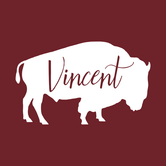 Vincent Bison Spirit Animal Silhouette Personalized Name