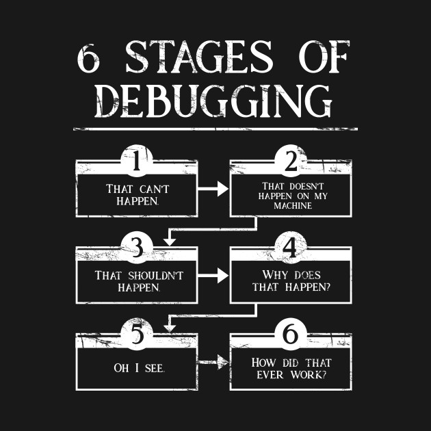 6 stages of debugging computer programming programmer for T shirt design programs for pc