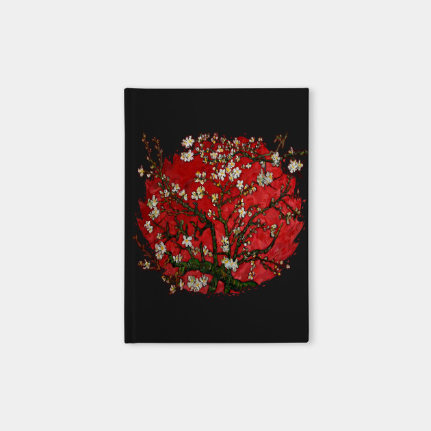 Van gogh abstract Daisy with red Background