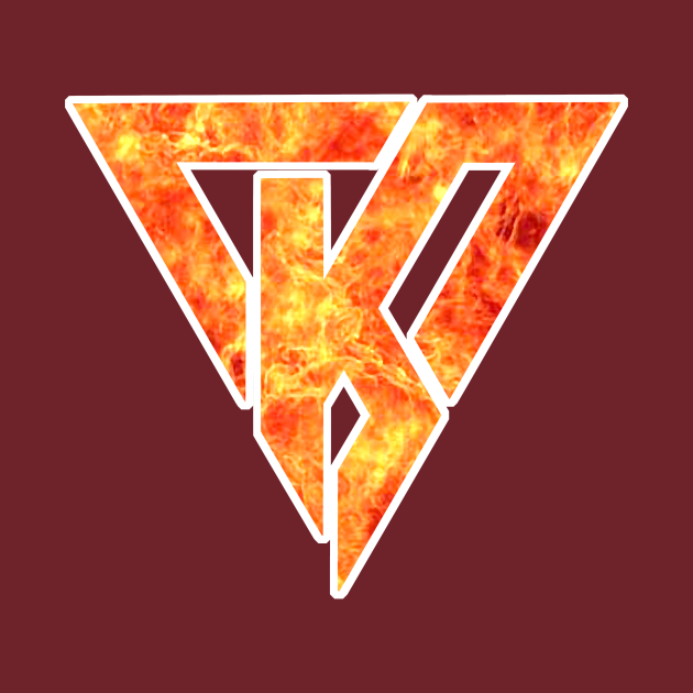 K flame logo - White border