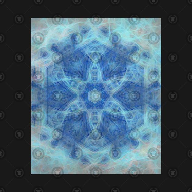 Whimsical lacy blue fractal kaleidoscope