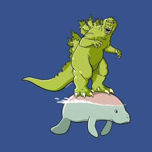 Godzilla on a Manatee t-shirts