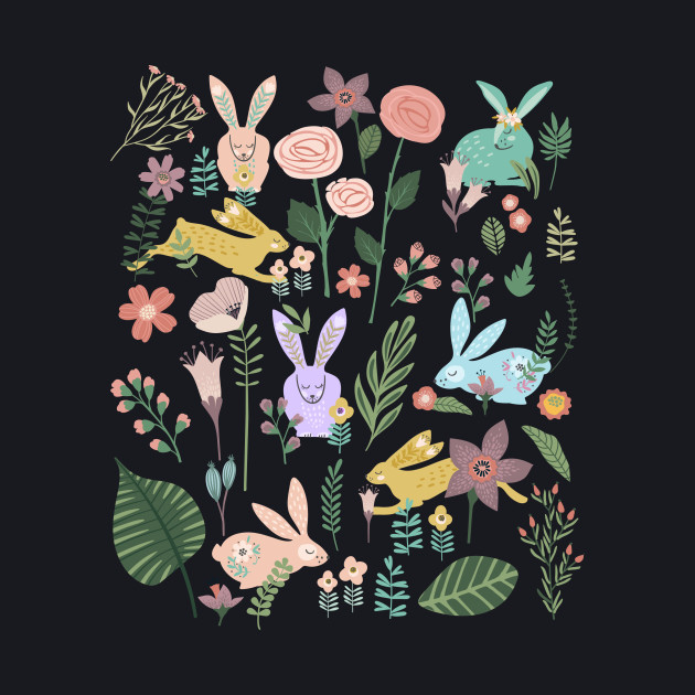 Bunnies In The Springtime Garden