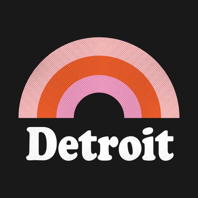 Detroit, Michigan - MI Retro Rainbow and Text
