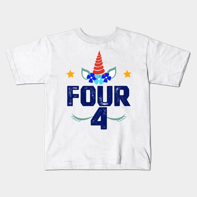b3b9edb43ea7 Unicorn 4th Birthday Shirt Girl Fourth Birthday Outfit Boy Kids T-Shirt