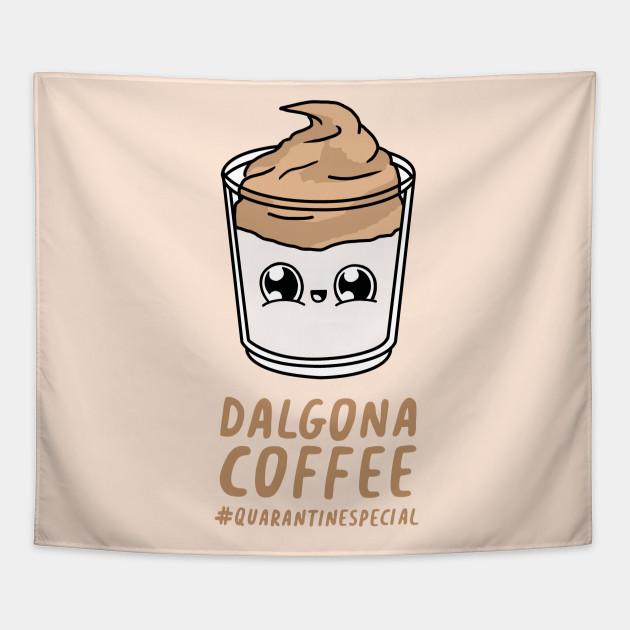 Kawaii Dalgona Coffee Coffee Tapestry Teepublic