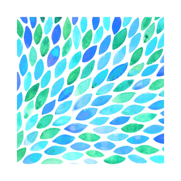 Watercolor brush strokes burst - turquoise and blue