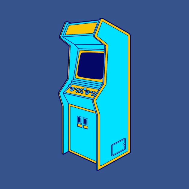 Retro Gamer Art 1980s Arcade Machine In Light Blue