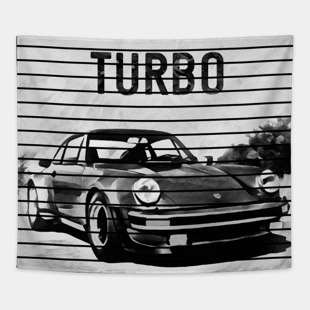 Vintage Porsche 911 Turbo Drawing Stripped Porsche Tapestry