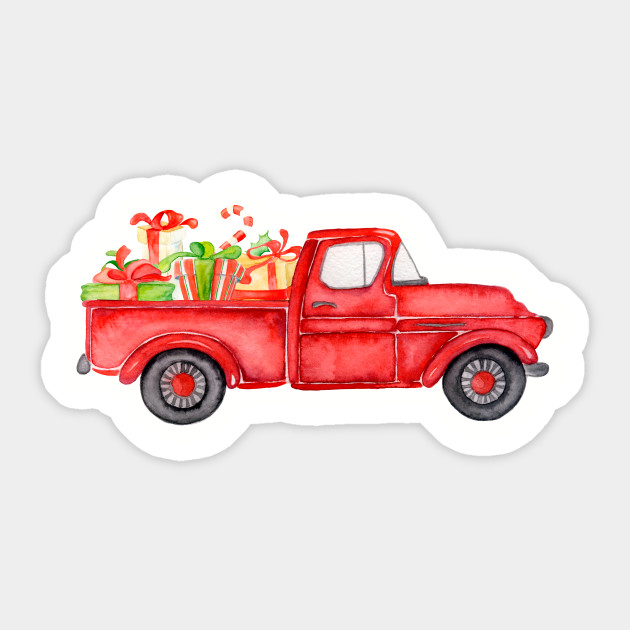 Old Red Truck With Christmas Tree In Back.Watercolor Vintage Red Truck With Christmas Gifts