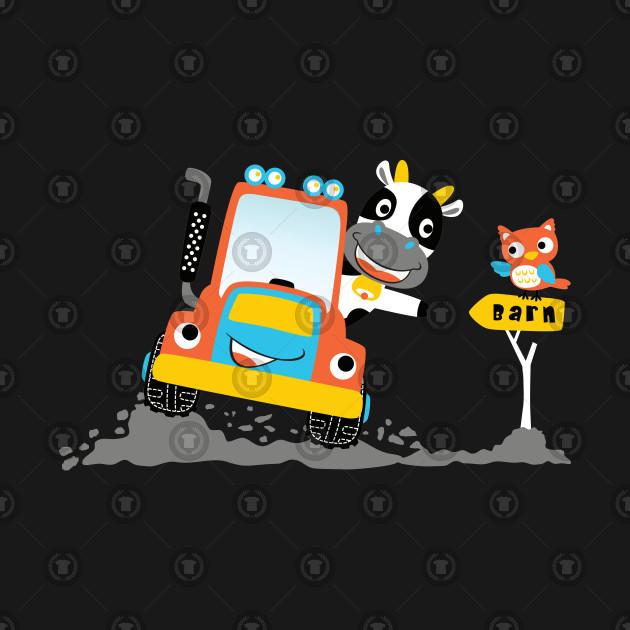 Cow Drive Tractor In Farmyard