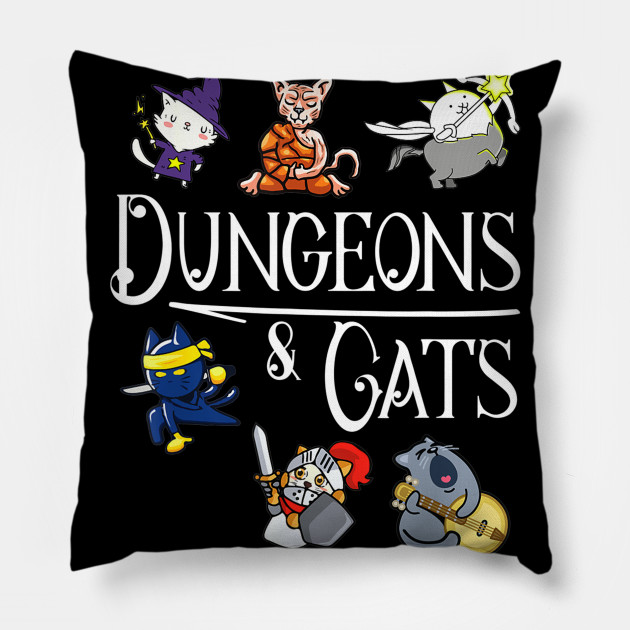 Funny Dungeons And Cats Lovers Gaming Birthday Gift Ideas Kids Men Women Pillow
