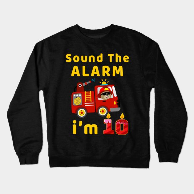 Fire Truck 10 Years Old Birthday T Shirt Kids Gift Crewneck Sweatshirt