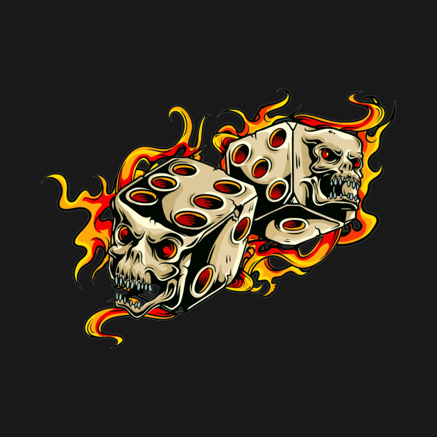 Grinning skull dice and flames