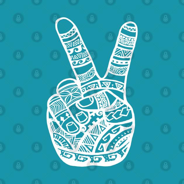 Boho Polynesian Tattoo Peace Sign Hand - White