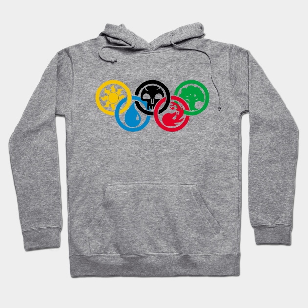 Kids Olympic rings Magic the Gathering elements hoodie