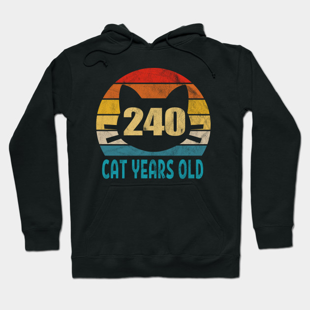 240 Cat Years Old Retro Style 56th Birthday Gift Cat Lovers Hoodie