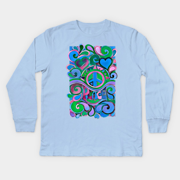 4cbd7b30 Blue Hippie Art - Peace And Love - Kids Long Sleeve T-Shirt | TeePublic