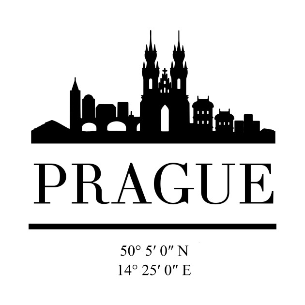PRAGUE CZECH REPUBLIC BLACK SILHOUETTE SKYLINE ART
