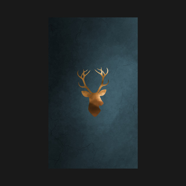 Gold deer watercolor painting