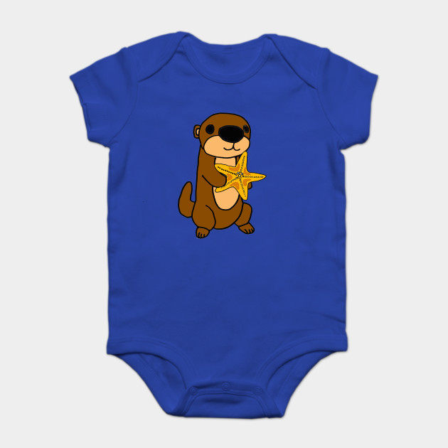 dcc0c7ef3 Cute Baby Sea Otter with Starfish Cartoon - Sea Otter - Onesie ...