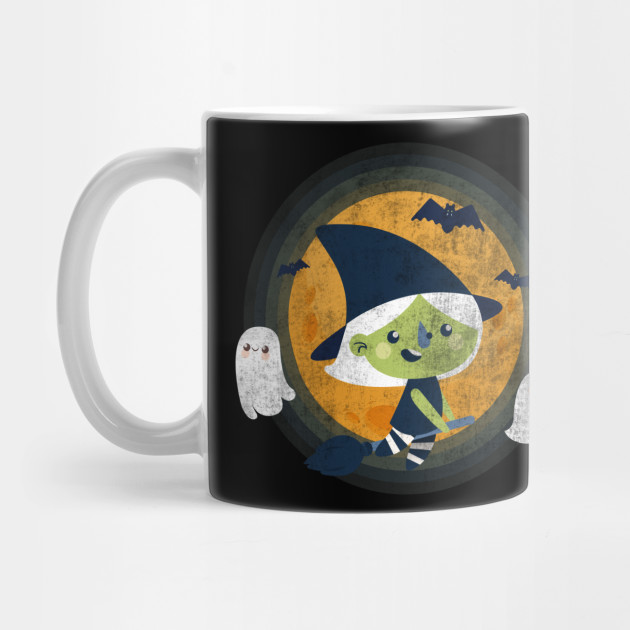 funny Halloween witch, Baby witch flying, Halloween Gifts Mug