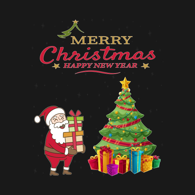 Cute Santa Claus Long Sleeve T-Shirts - Funny Christmas Tree - Happy ...