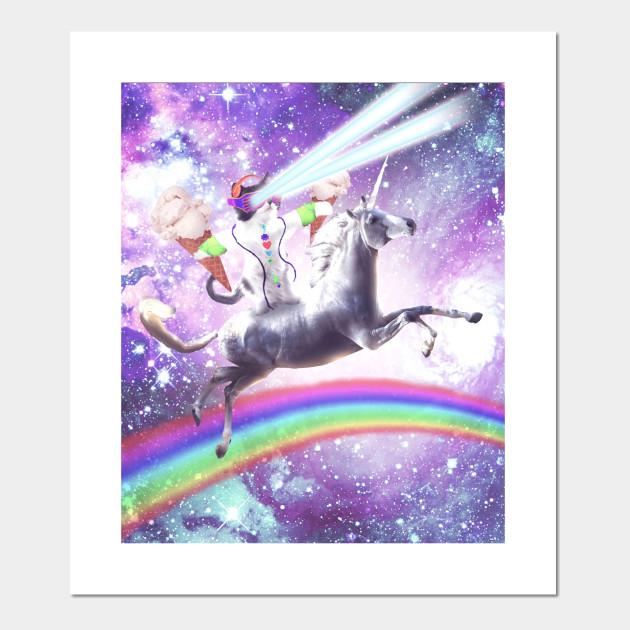 Lazer Rave Space Cat Riding Unicorn With Ice Cream Cat Riding
