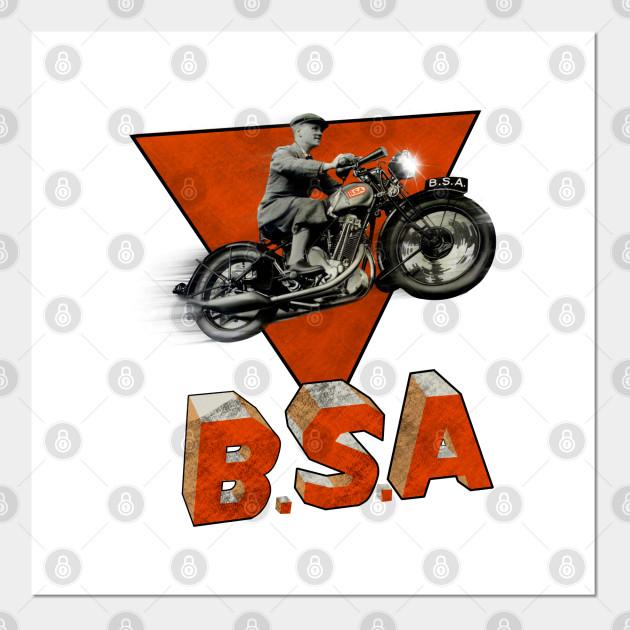 VINTAGE BSA 500 MOTORCYCLE ADVERTISING A4 POSTER PRINT