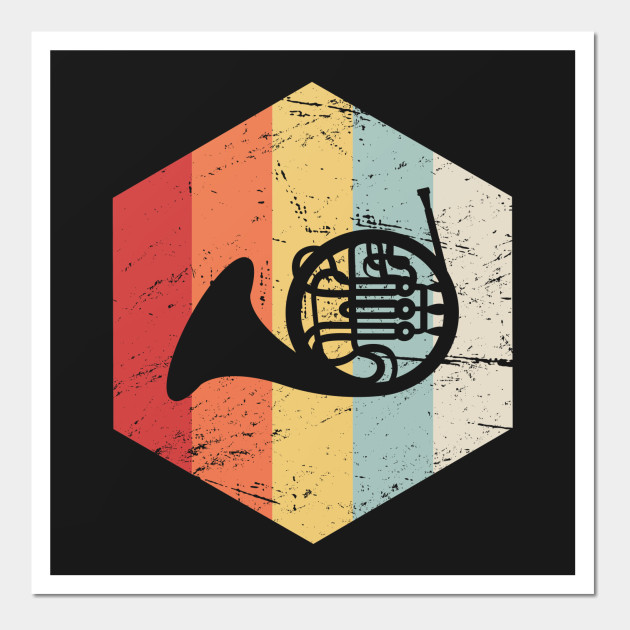 Retro Vintage French Horn Marching Band Icon