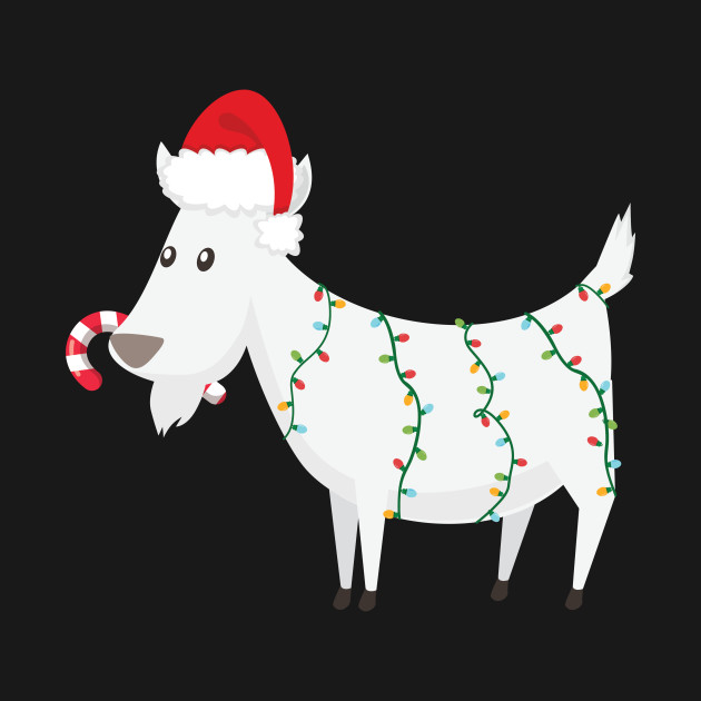 Christmas Goat.Funny Christmas Goat Wearing Santa Hat With Candy Cane