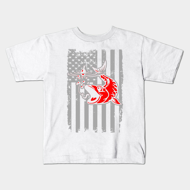 306f3ace4 Vintage Fishing Tshirt with American Flag Bass Fishing - Fishing ...