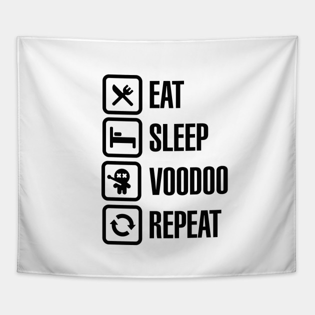 Eat sleep voodoo repeat black magic voodoo doll (black)
