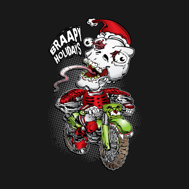 Biker Christmas.Christmas Skull Biker
