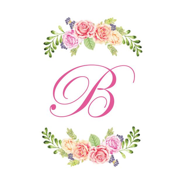 Floral Initial Letter B - Initial B - Kids T-Shirt