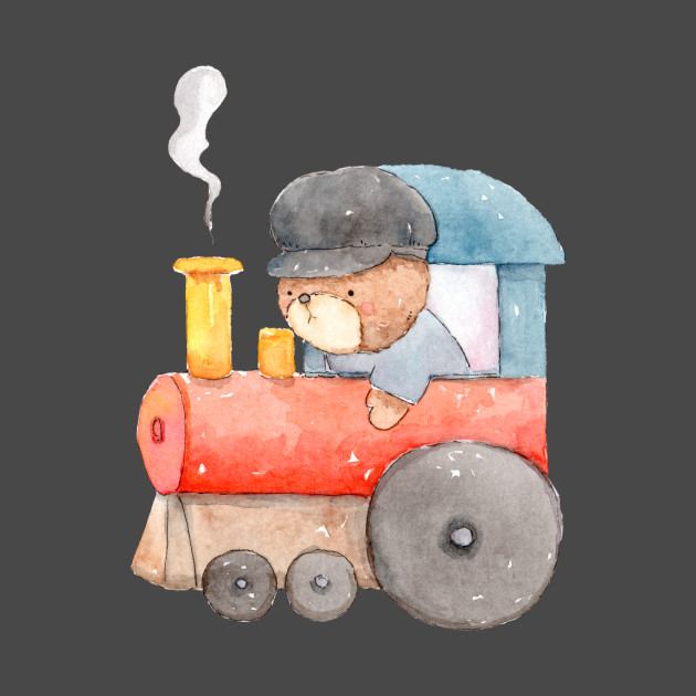 Bear Riding Train Watercolor for Kids