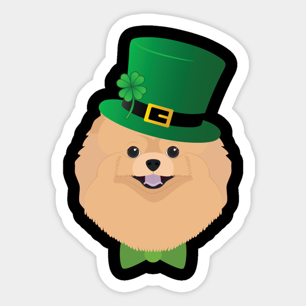 Pomeranian Dog With Green Hat Shamrock Funny Patrick Day Gift
