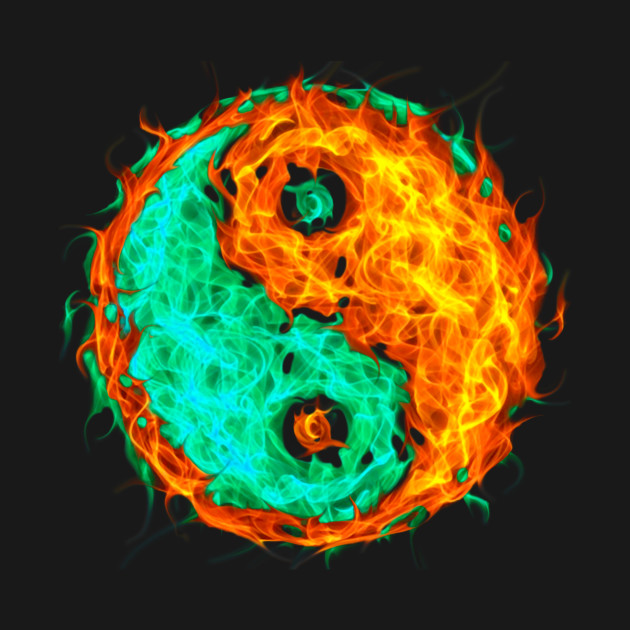 Yin Yang Fire And Ice Yin Yang T Shirt Teepublic