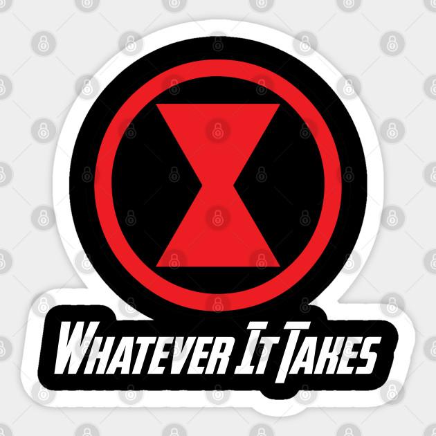 Black Widow Natasha Romanoff Whatever It Takes Logo Symbol Marvel Avengers Endgame Black Widow Sticker Teepublic