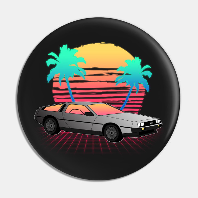 Neon Sunset Logo Delorean Pin Teepublic