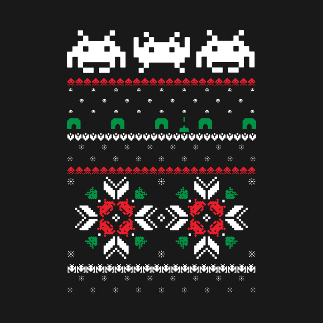 Retro Space Video Game 8 Bit Pixel Ugly Christmas Sweater Retro