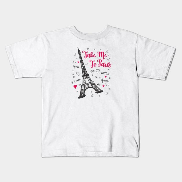 Eiffel Tower Decor Boys and Girls All Over Print T-Shirt,Crew Neck T-Shirt,Paris