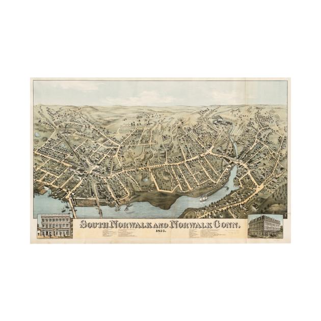 Vintage Pictorial Map of Norwalk Connecticut (1875) - Norwalk Ct ...