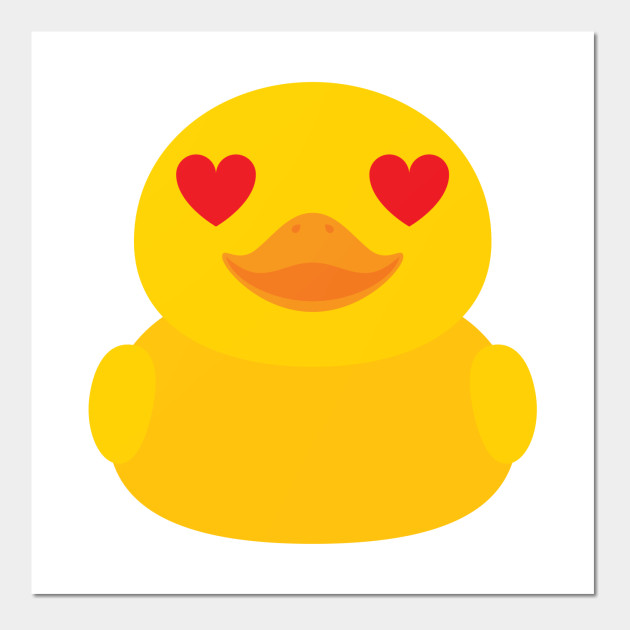 Rubber Duck Emoji Heart and Love Eyes - Duckling - Wall Art | TeePublic