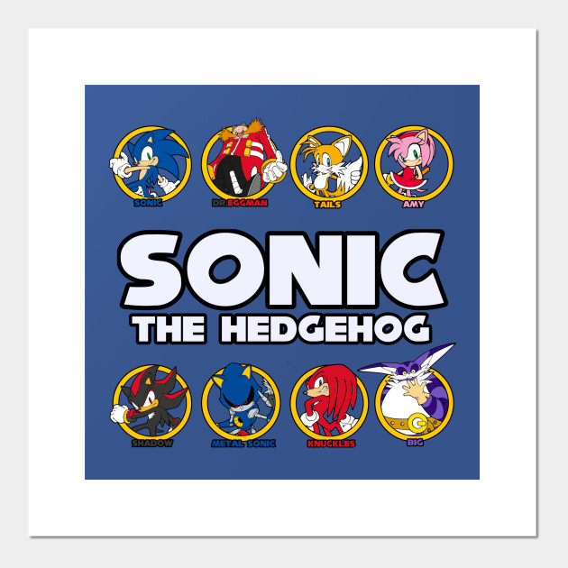 Sonic The Hedgehog 8 Character Graphic Sonic The Hegdehog Poster Und Kunst Teepublic De