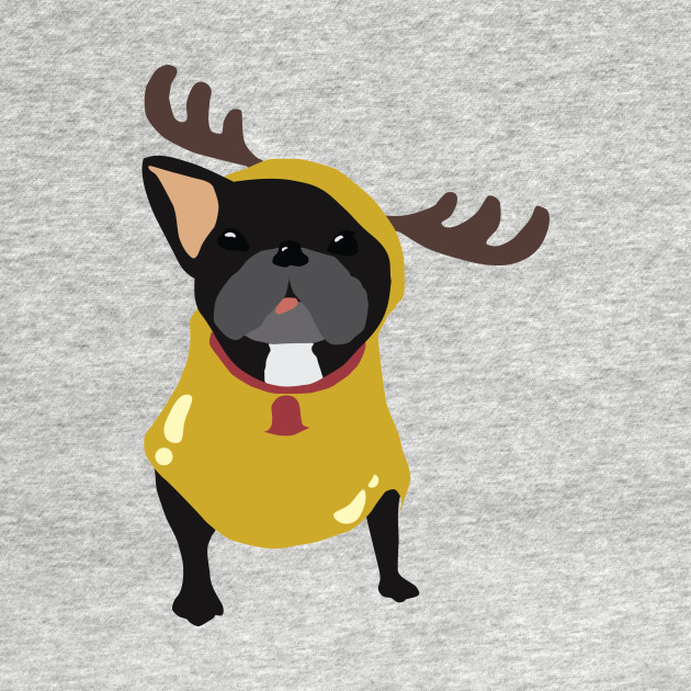 Frenchie in Reindeer Costume
